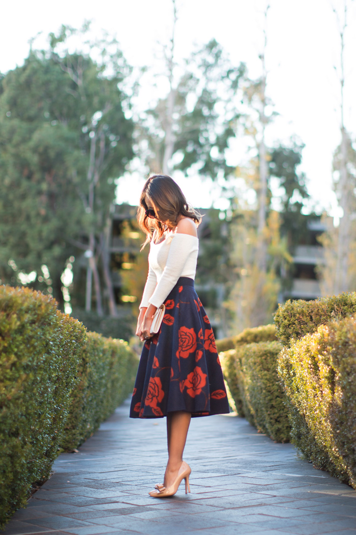 petite fashion blog, lace and locks, los angeles fashion blogger, floral midi skirt, chicwish skirt, feminine fashion, romantic fashion, red bow heels, ysl white clutch