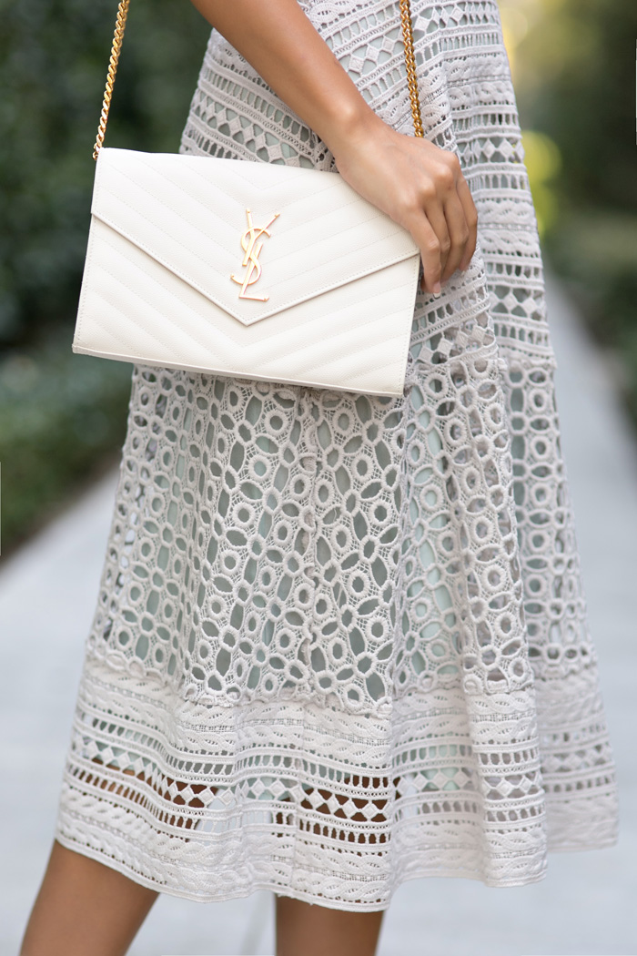 petite fashion blog, lace and locks, los angeles fashion blogger, lace midi dress, asos lace dress, feminine fashion, romantic fashion, bow heels, ysl white clutch