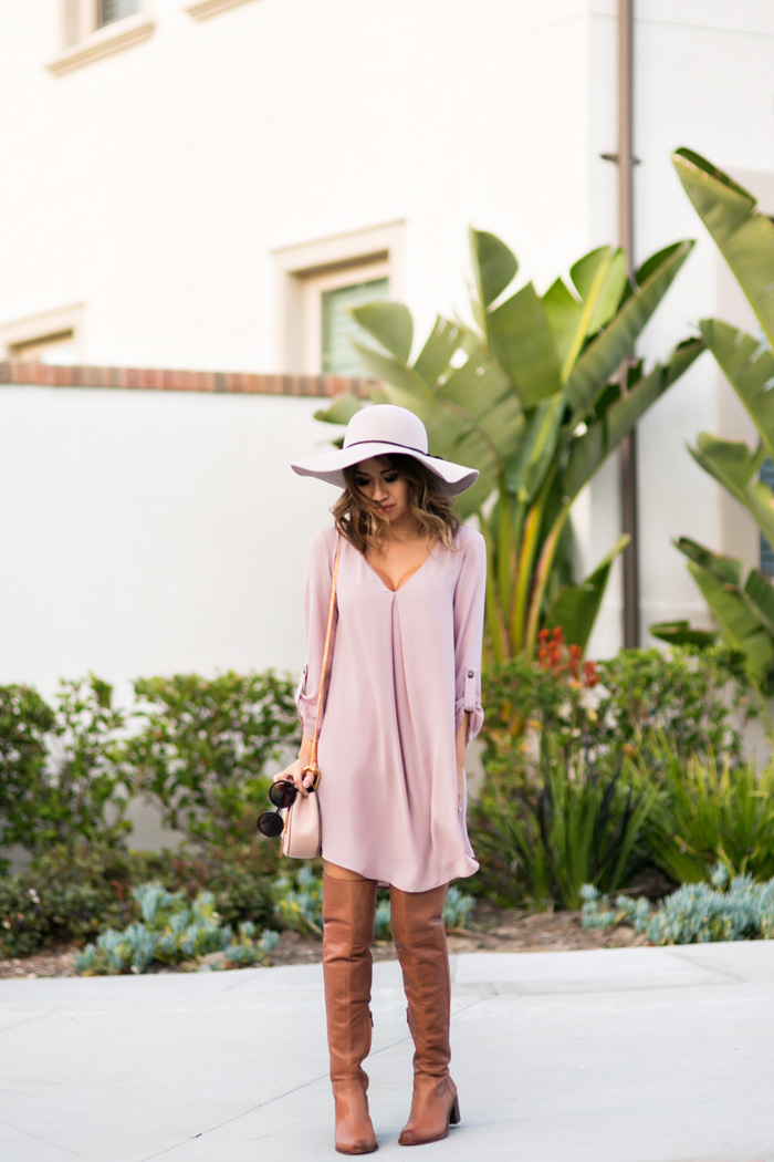 petite fashion blog, lace and locks, los angeles fashion blogger, lavender swing dress, lush dress, cute swing dresses for women, brown over the knee boots