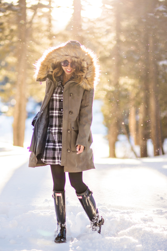 petite fashion blog, lace and locks, los angeles fashion blogger, cute winter outfit, plaid flannel dress, cute parka for women, snow outfit for women