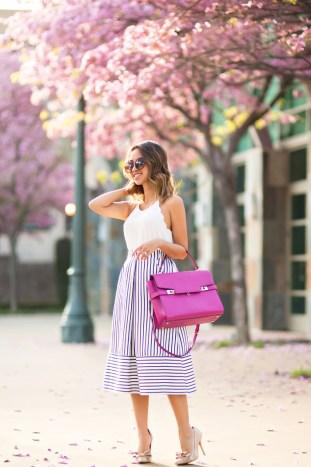 petite fashion blog, lace and locks, los angeles fashion blogger, navy stripe midi skirt, henri bendel handbag, bow heels, cute spring outfit