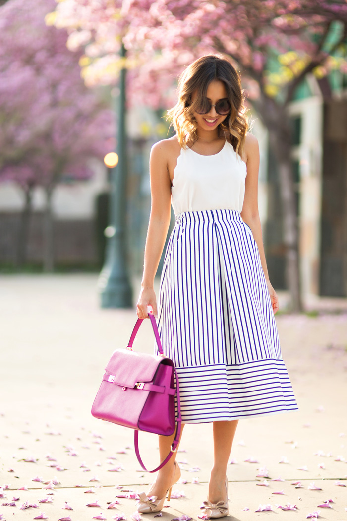 petite fashion blog, lace and locks, los angeles fashion blogger, navy stripe midi skirt, henri bendel handbag, bow heels, cute spring outfit