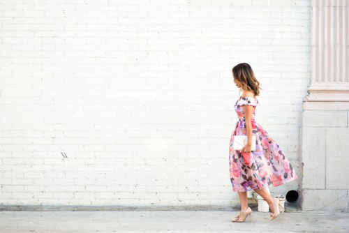 lace and locks, petite fashion blogger, off the shoulder floral dress, wedding guest dress, bow pumps, spring dresseslace and locks, petite fashion blogger, off the shoulder floral dress, wedding guest dress, bow pumps, spring dresses