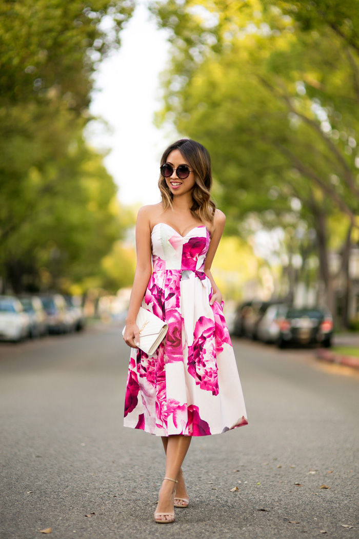 petite fashion blog, lace and locks, los angeles fashion blogger, strapless floral dress, wedding guest dress, spring fashion, ysl white clutch