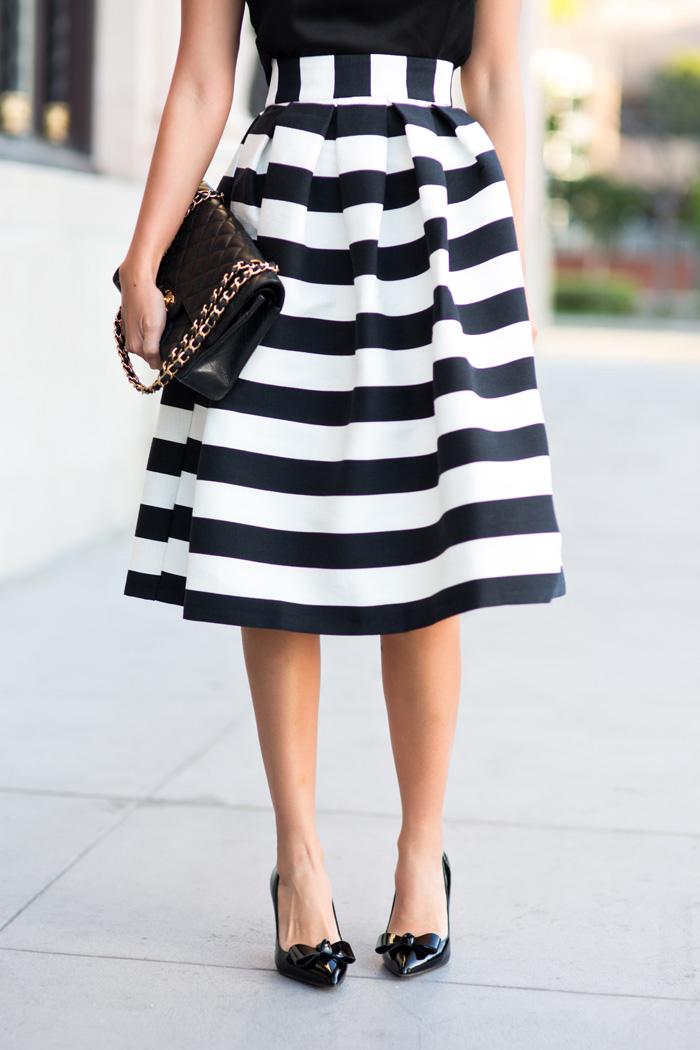 a4a1ac9457 petite fashion blog, lace and locks, los angeles fashion blogger, striped  midi skirt