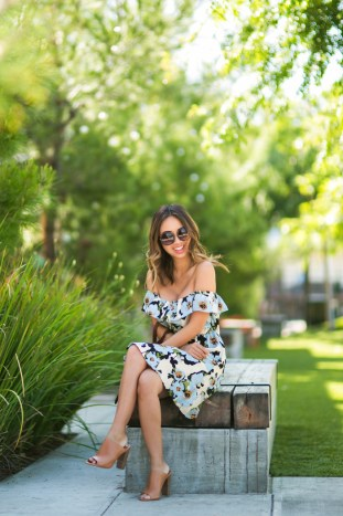 petite fashion blog, lace and locks, los angeles fashion blogger, morning lavender boutique, off the shoulder floral dress, cute casual dresses, spring outfit ideas