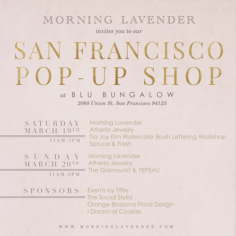 morning lavender pop up shop, san francisco pop up shop