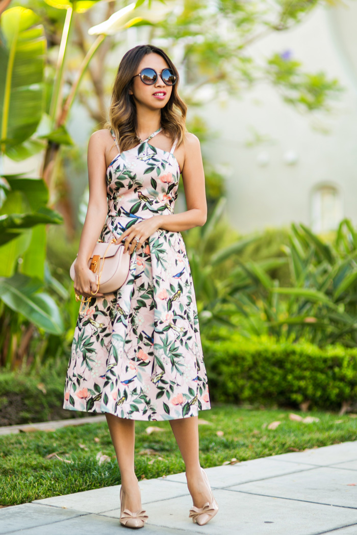 Merveilleux Ace And Locks, Petite Fashion Blogger,floral Midi Dress, Wedding Guest Dress ,