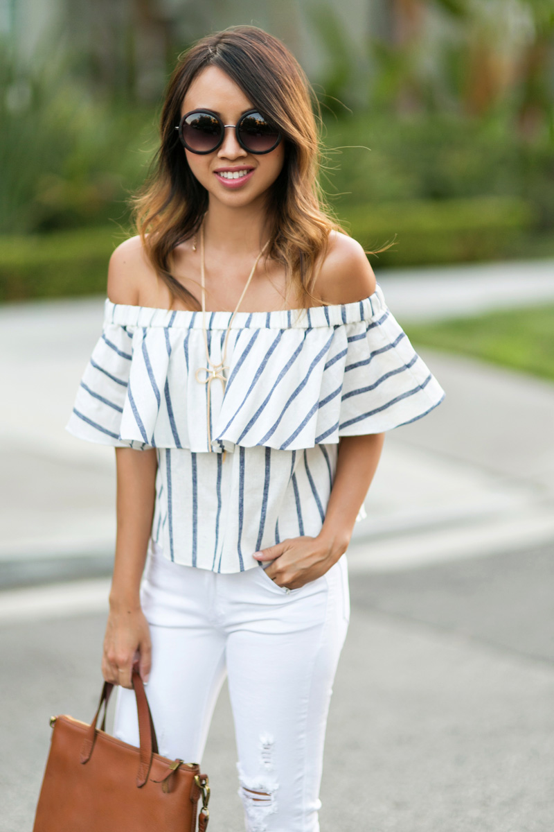 d49bd493cc5158 lace and locks petite fashion blogger off the shoulder stripe top – 05