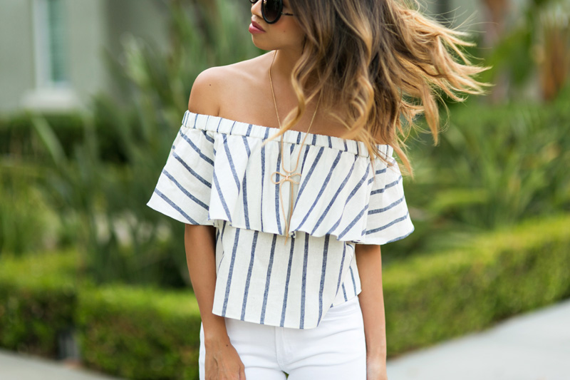 petite fashion blog, lace and locks, los angeles fashion blogger, oc fashion blogger,topshop off the shoulder top, stripe off the shoulder top, summer outfit, distressed white jeans