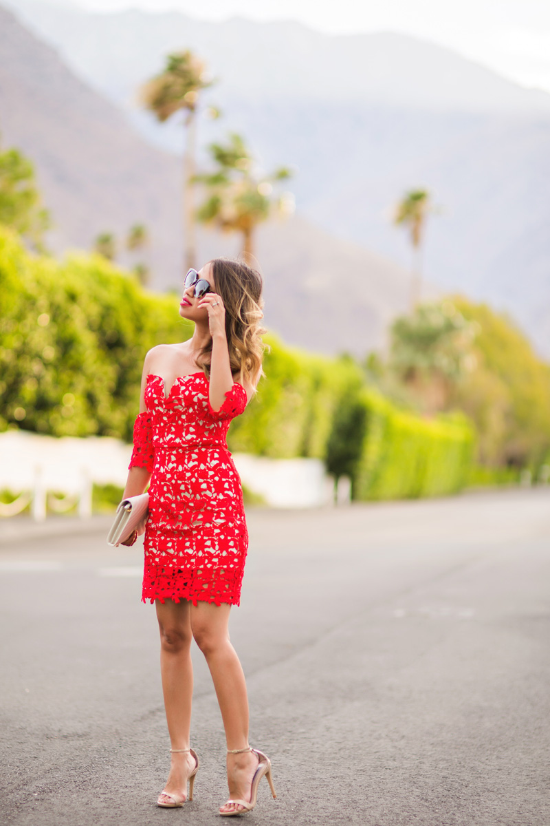 petite fashion blog, lace and locks, los angeles fashion blogger, red lace off the shoulder lace dress, palm springs outfits, date night dress, red lace dress