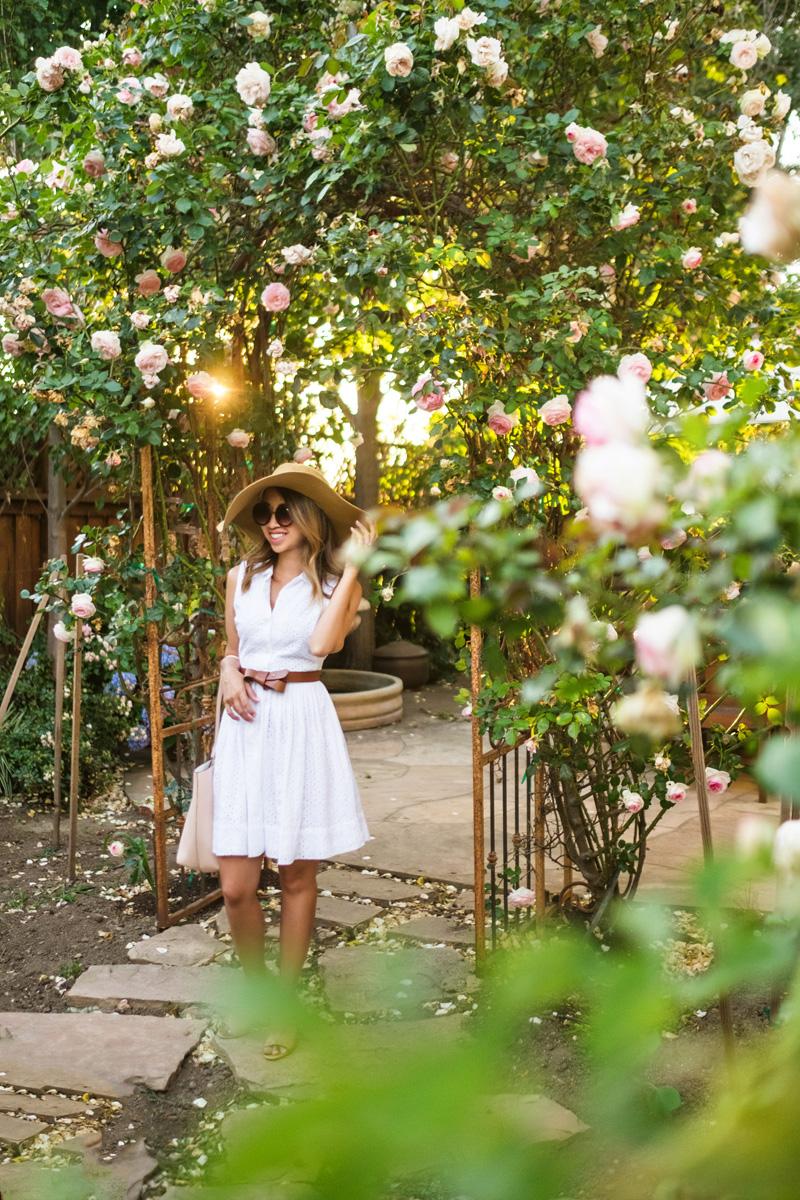 petite fashion blog, lace and locks, los angeles fashion blogger, napa travel diary, napa wine tasting fashion, traveling fashion blogger, white shirt dress, big floppy hat, summer outfit ideas