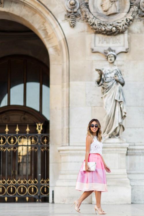 petite fashion blog, lace and locks, los angeles fashion blogger, paris fashion blog, chicwish skirt, cute midi skirt, colorblock skirt, travel blogger