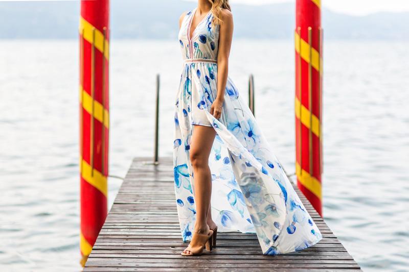 petite fashion blog, lace and locks, maxi shorts jumpsuit, morning lavender dress, cute maxi dresses, travel blogger, lake garda