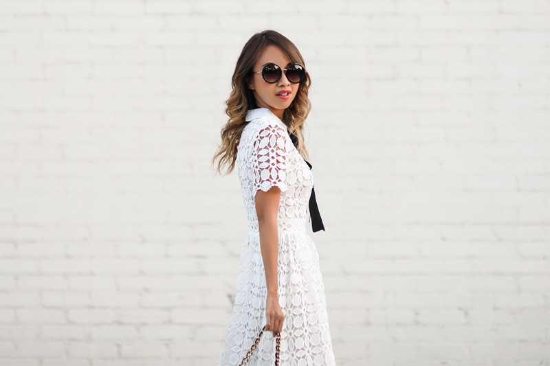 petite fashion blog, lace and locks, los angeles fashion blogger, oc fashion blogger, fall fashion, chicwish dress, crochet midi dress, wearing white