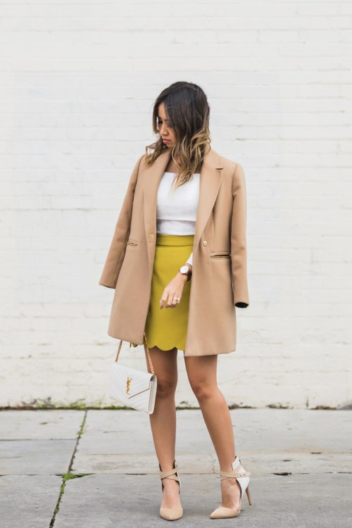 petite fashion blog, lace and locks, los angeles fashion blogger, scallop mini skirt, camel coat, winter fashion, saint laurent wallet on chain