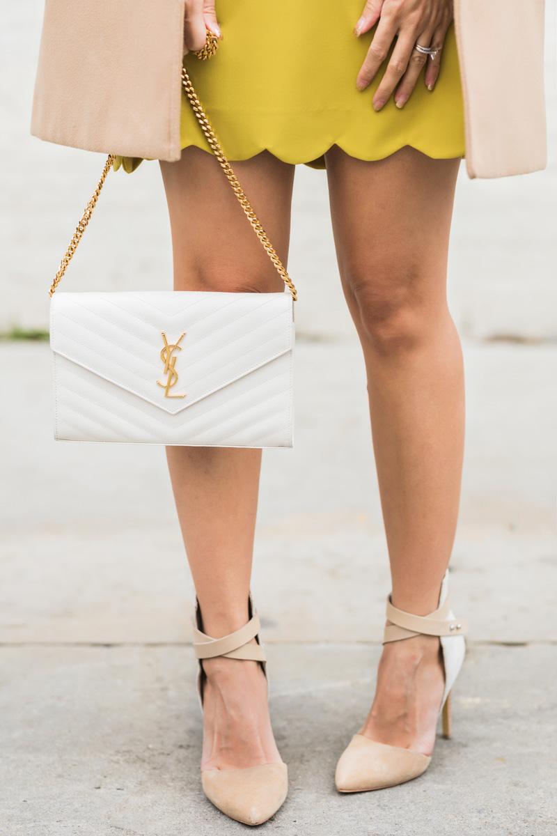 petite fashion blog, lace and locks, los angeles fashion blogger, scallop mini skirt, camel coat, winter fashion, saint laurent wallet on chain