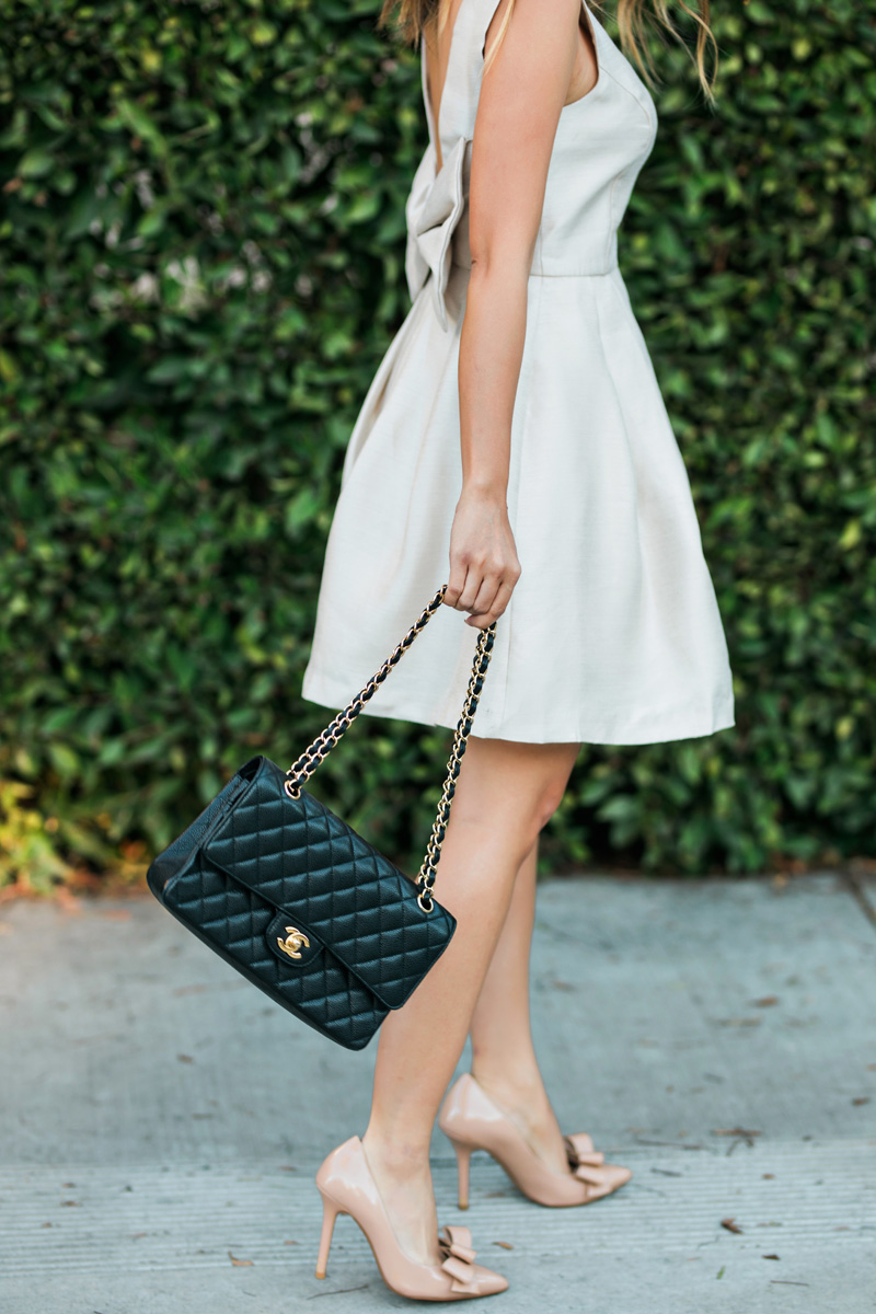 petite fashion blog, lace and locks, los angeles fashion blogger, oc fashion blogger, bow dress, morning lavender boutique, feminine fashion, valentines outfit