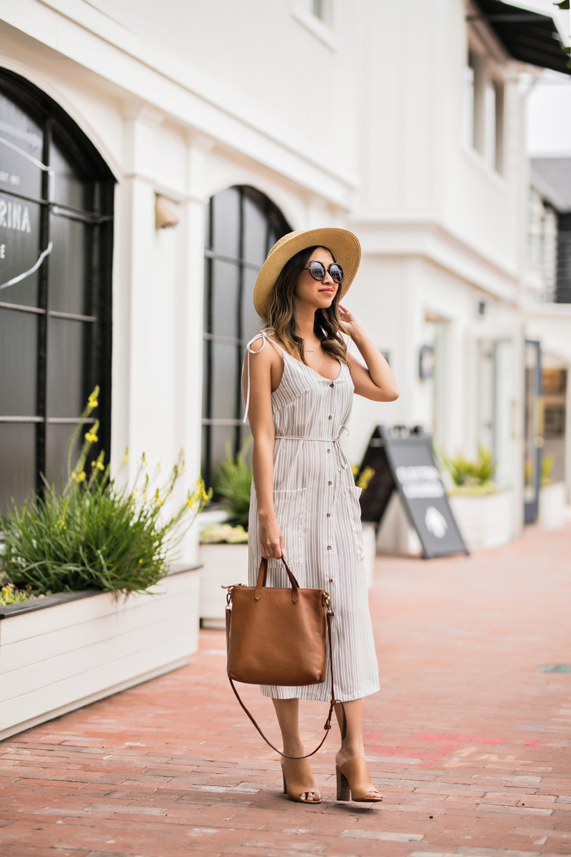 lace and locks, petite fashion blogger, spring trends, cute stripe midi dress, spring striped dress, cute morning lavender dress, cute mules
