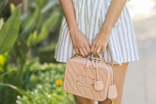 petite fashion blog, lace and locks, LA fashion blogger, oc fashion blogger, ONE SHOULDER STRIPE ROMPER, cute spring romper, morning lavender, chanel vanity bag