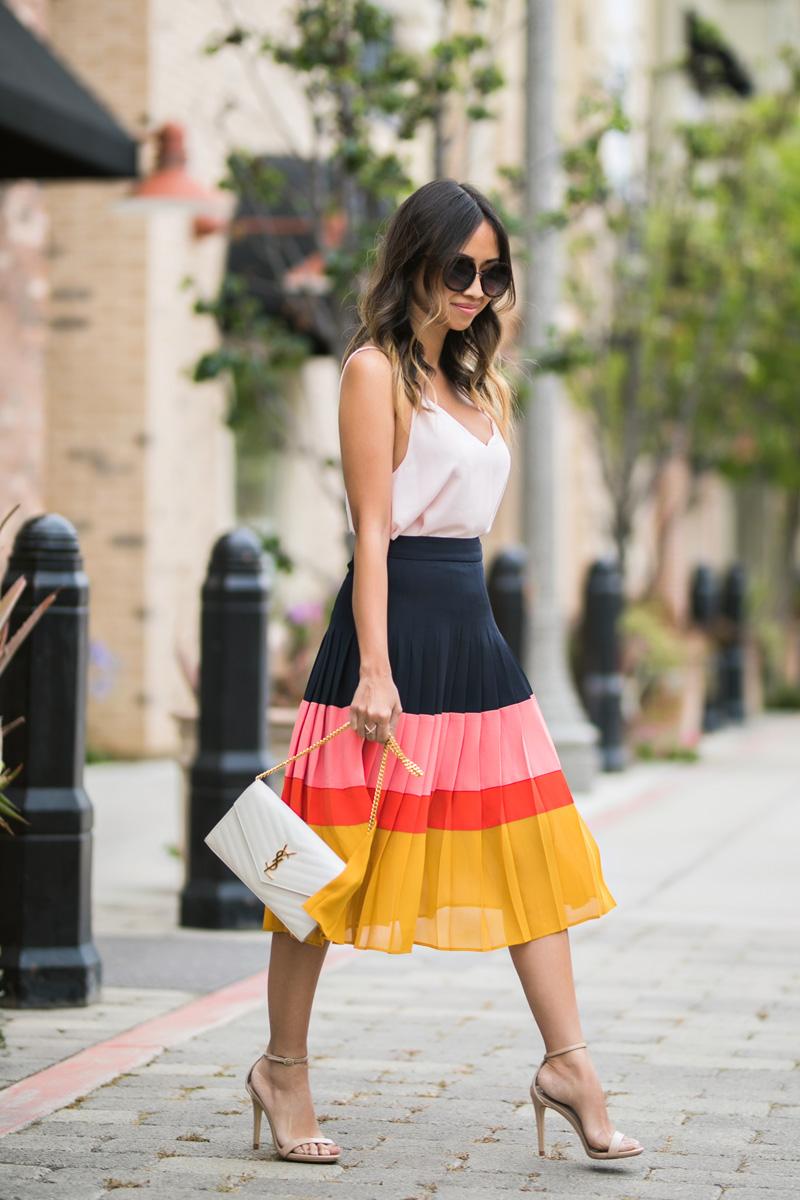 petite fashion blog, lace and locks, LA fashion blogger, orange county fashion blogger, pleated skirt, midi skirt, colorblock skirt, ann taylor skirt