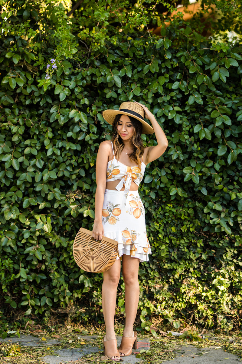 lace and locks, petite fashion blogger, oc fashion blogger, lemon print dress, cute spring outfit, cult gaia ark bag, cute mules, cute spring look