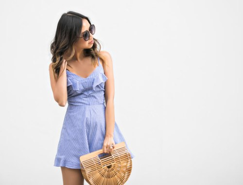 lace and locks, petite fashion blogger, orange county fashion blogger, stripe romper, cute spring outfit, cult gaia ark bag, bow heels, cute spring look