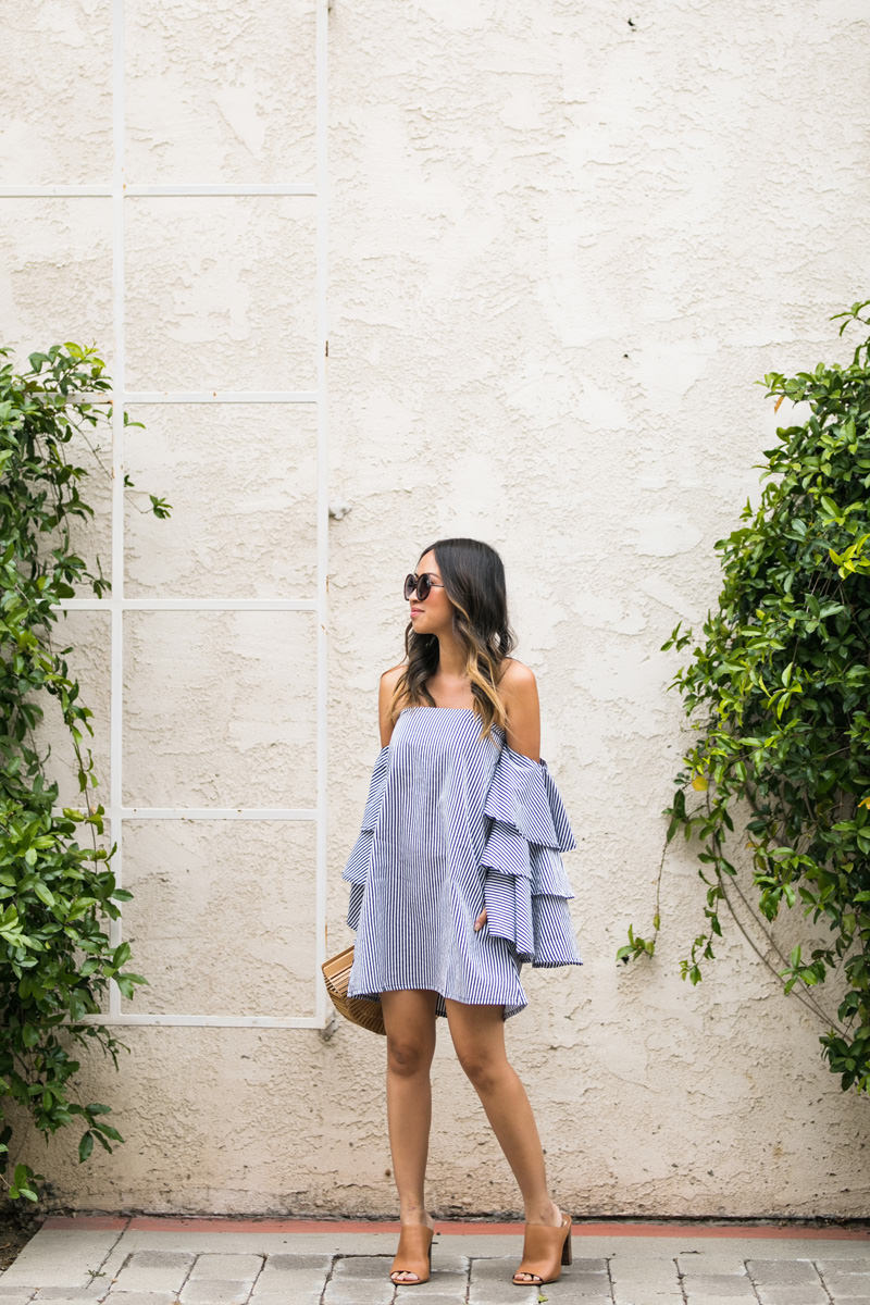 lace and locks, petite fashion blogger, orange county fashion blogger, stripe dress, cute spring outfit, cult gaia ark bag, ruffle dress, cute spring look