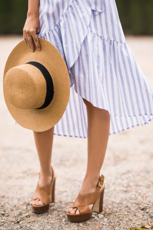 lace and locks, petite fashion blogger, oc fashion blogger, cute spring outfit, ruffle skirt, stripe skirt, summer fashion, morning lavender skirt