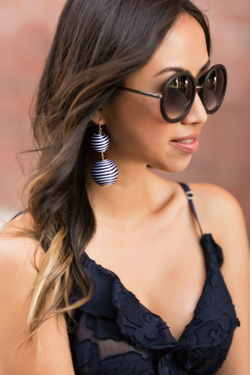 petite fashion blog, lace and locks, LA fashion blogger, orange county fashion blogger, ruffle maxi jumpsuit, wedding guest dress, bauble earrings