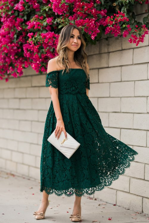 lace and locks, petite fashion blogger, lace midi dress, green lace dress, off the shoulder lace dress, asos dress, wedding guest dress, orange county blogger