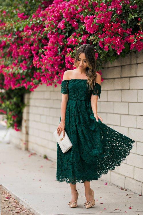 lace and locks, petite fashion blogger, lace midi dress, green lace dress, off the shoulder lace dress, asos dress, wedding guest dress, orange county blogger