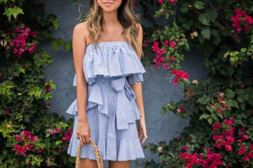 lace and locks, petite fashion blogger, morning lavender dress, striped ruffle dress, summer ruffle dress, straw circle bag, cute dresses, orange county blogger