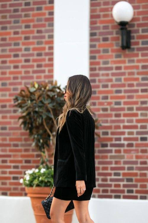 lace and locks, petite fashion blogger, express petite collection, orange county blogger, velvet blazer, velvet mini skirt,mesh cami top, fall velvet
