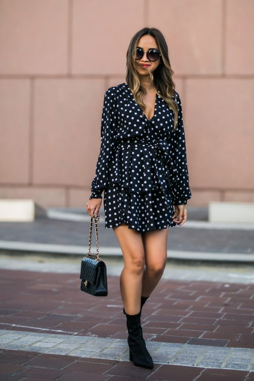lace and locks, petite fashion blogger, polka dot dress, nordstrom fall fashion, black sock booties, cute fall look, orange county blogger, nordstrom dress