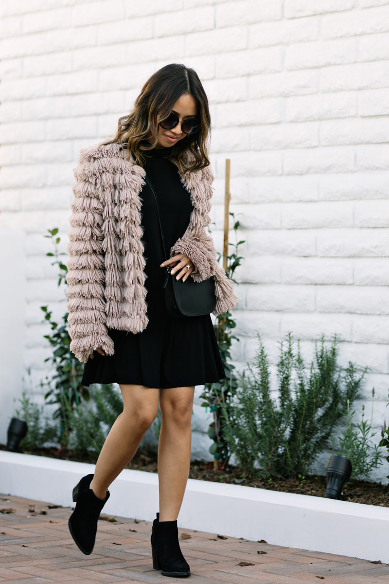 lace and locks, petite fashion blogger, layered jacket, morning lavender jacket, cute fall look, striped bow top, lo & sons crossbody bag, faux fur jacket