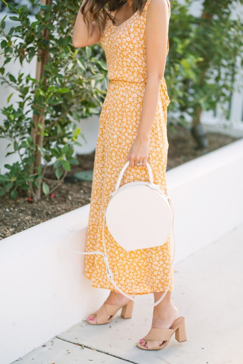 lace and locks, petite fashion blogger, yellow floral jumpsuit, morning lavender jumpsuit, spring jumpsuit, cute spring outfits, ivory round handbag