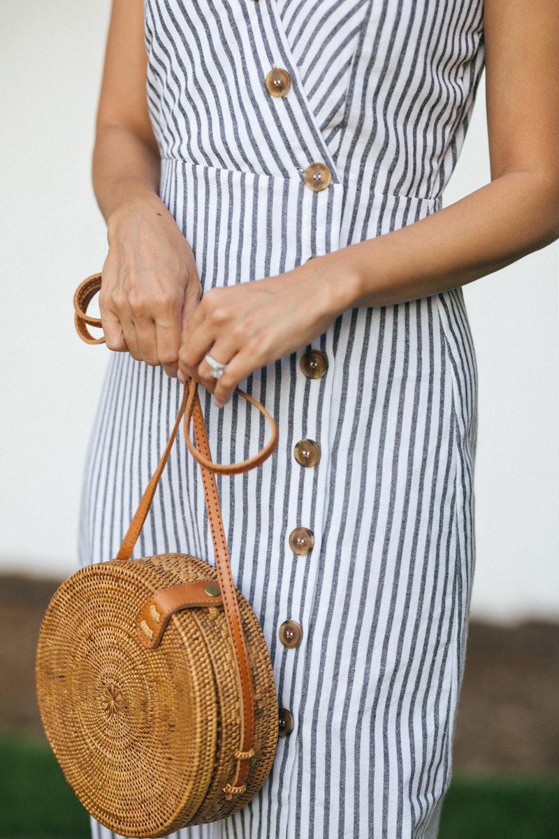 Morning Lavender Round Straw Handbag