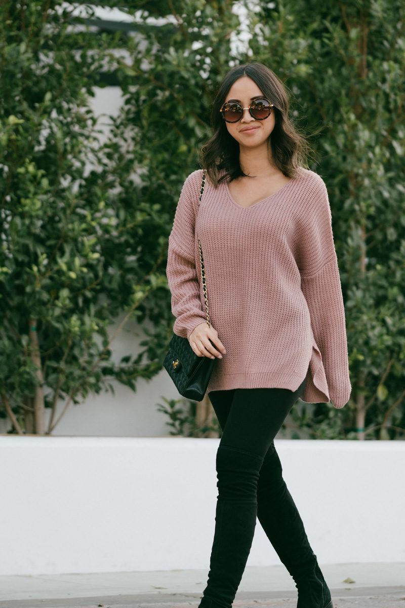 maternity fashion, dressing the bump, fall fashion, lace and locks, petite fashion blogger, morning lavender pullover sweater