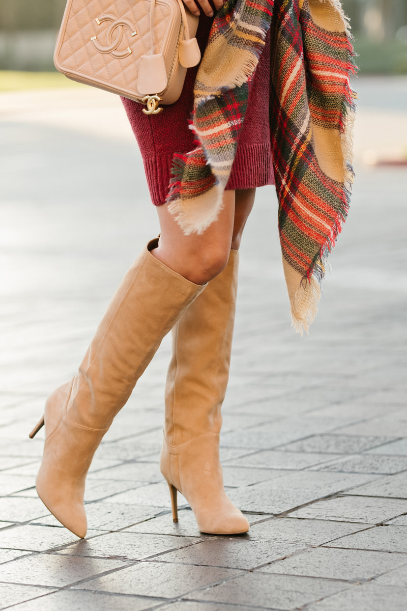 lace and locks petite fashion blogger, burgundy sweater dress, maternity style, holiday plaid scarf, tan knee high boots