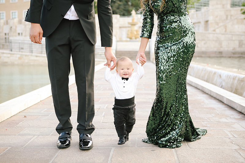 glam family holiday photos, baby tuxedo, sequin gown, family photography