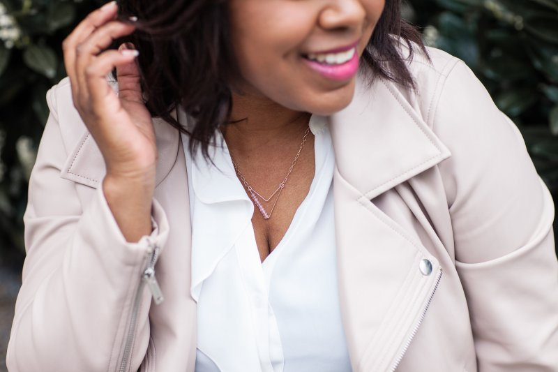 This gorgeous necklace is by Brooklyn, NY designer Monifa Kincaid Jewelry. Monifa, designer and owner, launched her debut line on April 1st.