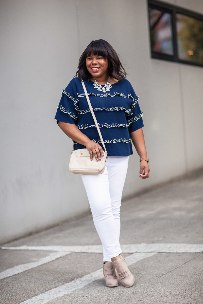 For today's post, I am focusing on wearing white denim in the fall along with some tips for embracing this sometimes controversial trend.