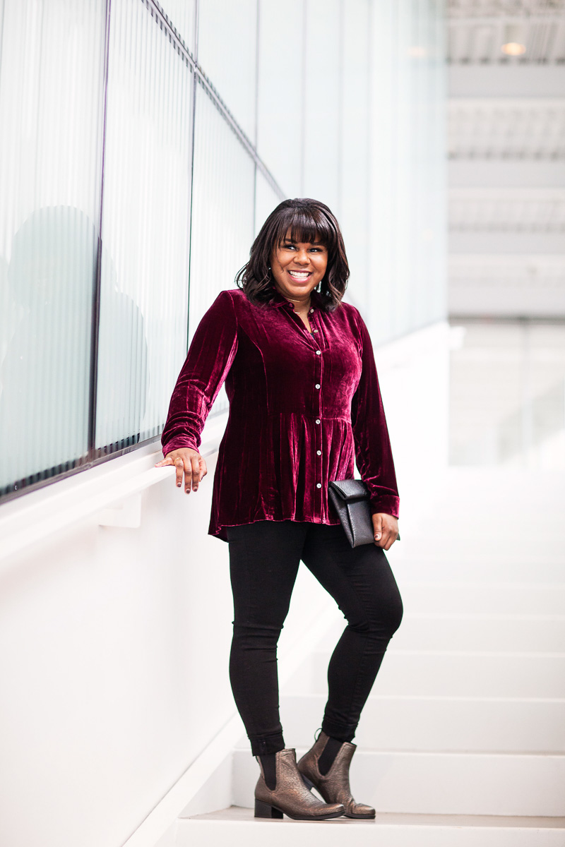 "Velvet is one of those fabrics that people either love or hate. I hear things like ""That looks like something my grandma would wear,"" and ""Do you remember when I had a similar top? You were a lot younger so you probably don't remember."""