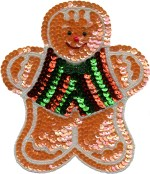 6'' by 7 '' Gingerbread Man Beaded and Sequined Applique6'' by 7 '' Gingerbread Man Beaded and Sequined Applique