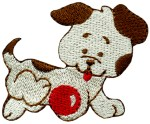 2 1/8'' by 2 3/4'' Playing Ball Dog Iron On Applique2 1/8'' by 2 3/4'' Playing Ball Dog Iron On Applique