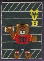 2 3/4'' by 3 3/4'' Iron On FootBall Bear Patch Applique2 3/4'' by 3 3/4'' Iron On FootBall Bear Patch Applique