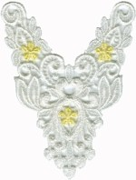 3 1/2'' by 4 1/2'' Venice White/ Yellow Applique3 1/2'' by 4 1/2'' Venice White/ Yellow Applique
