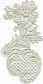 2 5/8'' by 5 1/8'' Ivory Venice Applique2 5/8'' by 5 1/8'' Ivory Venice Applique