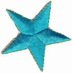 2'' - 5.1 cm - Turquoise Iron On Star Applique with Gold Edge2'' - 5.1 cm - Turquoise Iron On Star Applique with Gold Edge